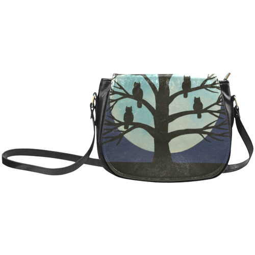 Spooky Owl Tree Classic Saddle Bag/Small (Model 1648)
