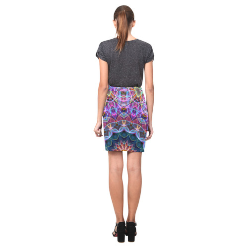 Purple Lotus soap bubbles mandala Nemesis Skirt (Model D02)