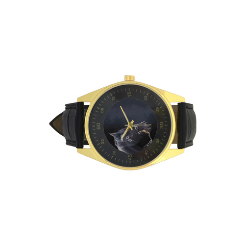 A beautiful painting black friesian horse portrait Men's Golden Leather Strap Watch(Model 210)