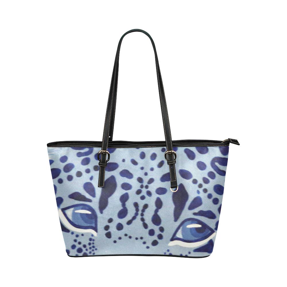 Ultramarine Jaguar Leather Tote Bag/Small (Model 1651)