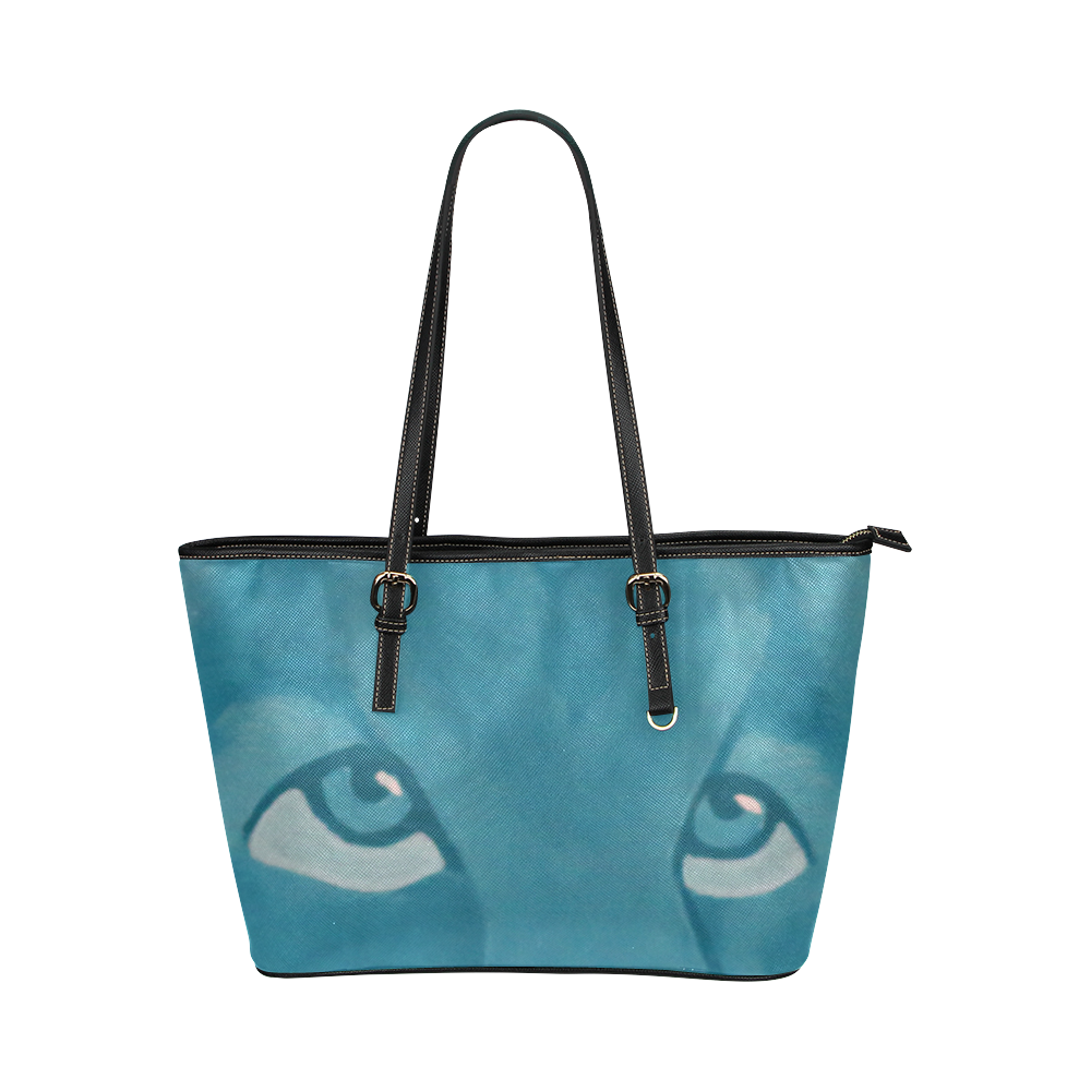 Turquoise Lion Leather Tote Bag/Small (Model 1651)