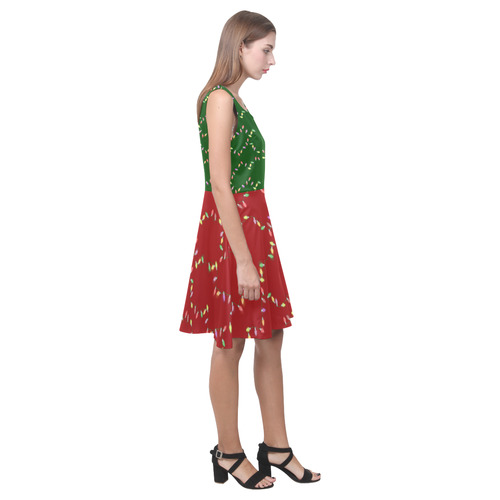 Festive Christmas Lights on Green and Red Hebe Casual Sundress (Model D11)