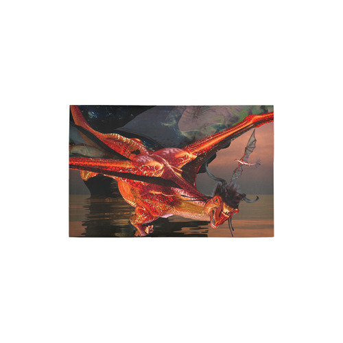 "Awesome red flying dragon Area Rug 2'7""x 1'8''"