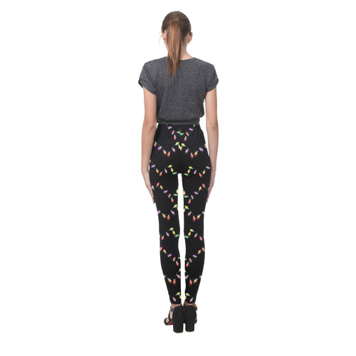 Festive Christmas Lights on Black Cassandra Women's Leggings (Model L01)