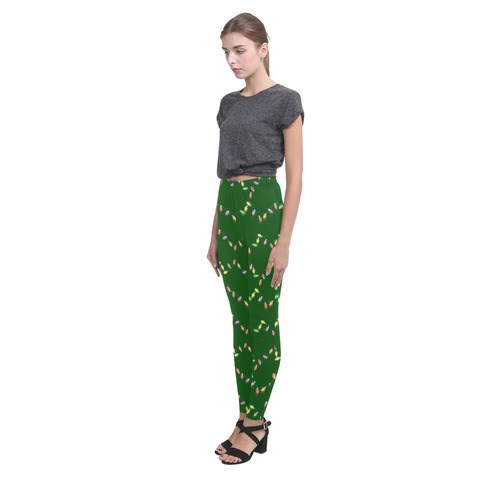 Festive Christmas Lights on Green Cassandra Women's Leggings (Model L01)