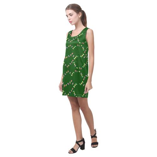 Festive Christmas Lights on Green Helen Sleeveless Dress (Model D10)