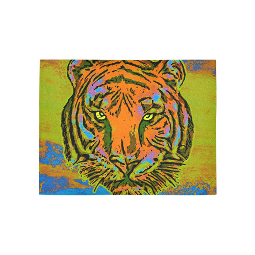 Pop Art TIGER HEAD orange green blue Area Rug 5'3''x4'