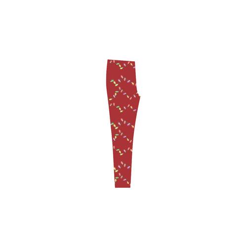 Festive Christmas Lights  on Red Cassandra Women's Leggings (Model L01)