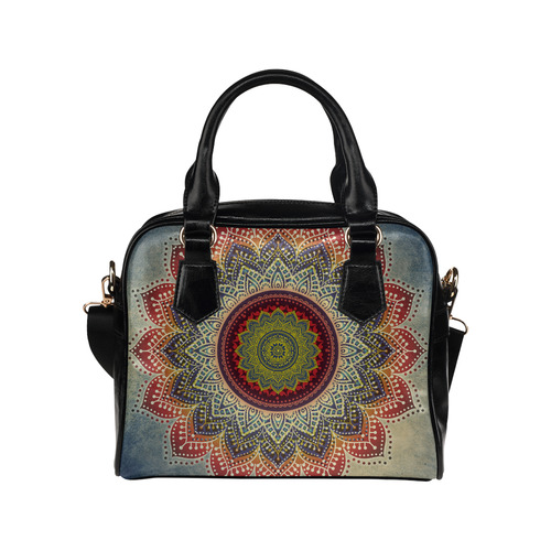 Folk Art MANDALA - dirty grunge blue red Shoulder Handbag (Model 1634)