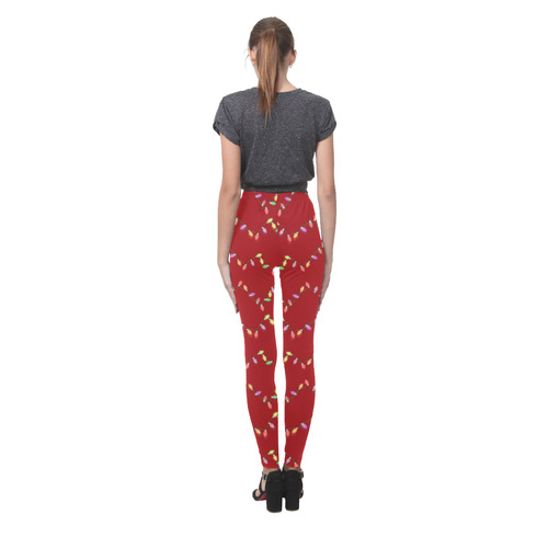 Festive Christmas Lights  on Red Cassandra Women's Leggings (Model L01)