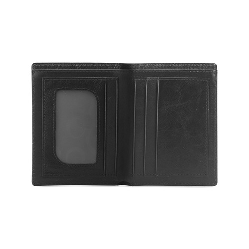 Magenta Zebra Men's Leather Wallet (Model 1612)