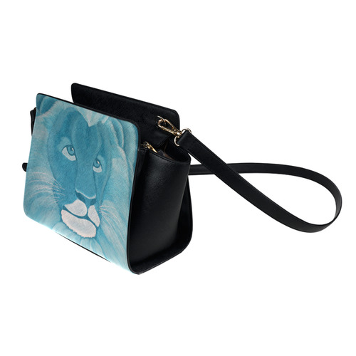 Turquoise Lion Satchel Bag (Model 1635)