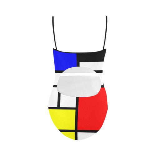 Mosaic DE STIJL Style black yellow red blue Strap Swimsuit ( Model S05)