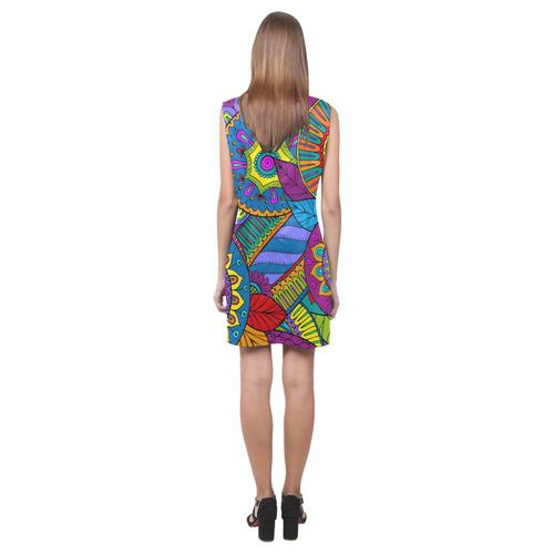 Pop Art PAISLEY Ornaments Pattern multicolored Phoebe Sleeveless V-Neck Dress (Model D09)