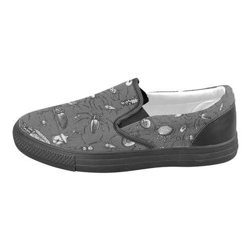 beetles spiders creepy crawlers insects bugs Men's Slip-on Canvas Shoes (Model 019)