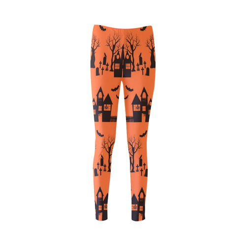 Haunted House - Orange Backgrond Cassandra Women's Leggings (Model L01)
