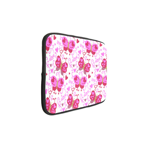 "Cute Pink Hearts Butterfly Love Pattern Custom Sleeve for Laptop 15.6"""