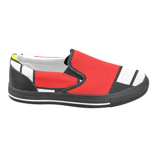 Mosaic DE STIJL Style black yellow red blue Men's Unusual Slip-on Canvas Shoes (Model 019)