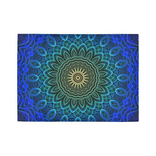 3-D Fractal Mandala in Deep Blue/Green/Yellow Area Rug7'x5'