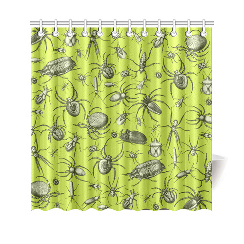 Insects Spiders Creepy Crawlers Halloween Green Shower Curtain 69x70