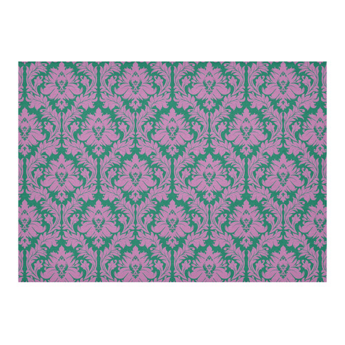 "autumn fall colors purple green damask Cotton Linen Tablecloth 60""x 84"""