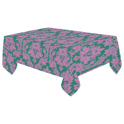 "autumn fall colors purple green damask Cotton Linen Tablecloth 60""x 104"""