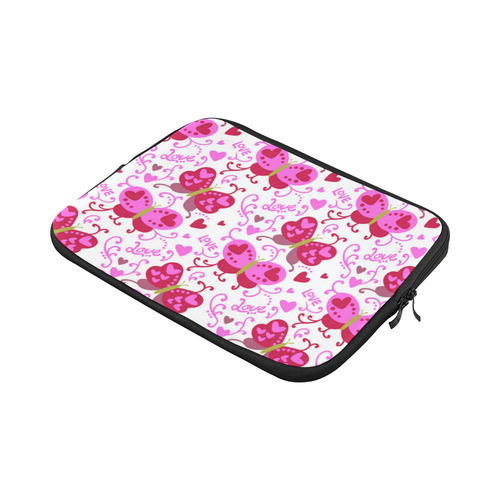 Cute Pink Hearts Butterfly Love Pattern Custom Laptop Sleeve 13""