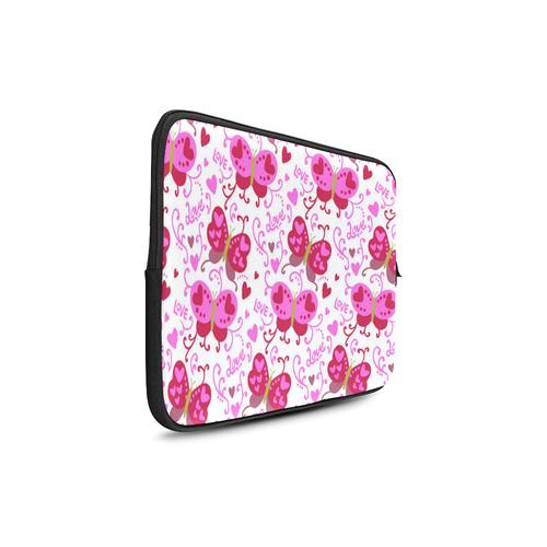 "Cute Pink Hearts Butterfly Love Pattern Custom Sleeve for Laptop 17"""