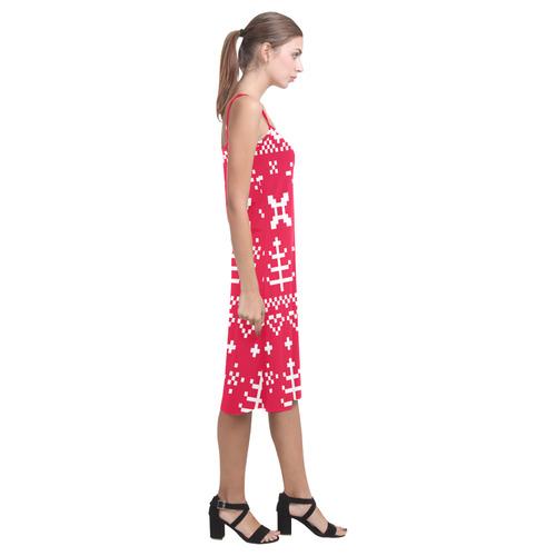 Slovakia - inspired collection. Red and White fresh tones. Slavic - red folk designers dress. Alcestis Slip Dress (Model D05)