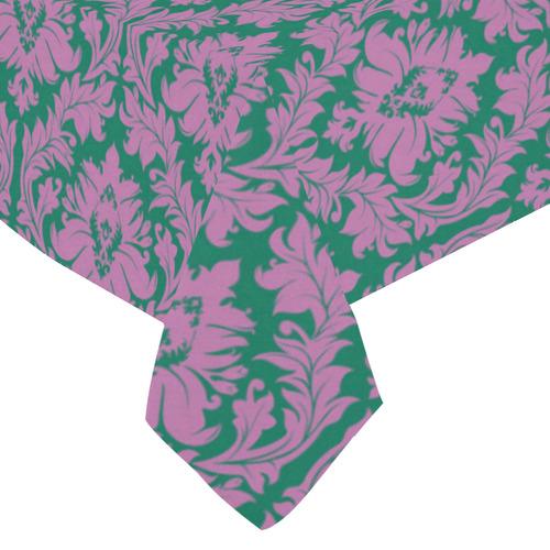 "autumn fall colors purple green damask Cotton Linen Tablecloth 60""x 84"""