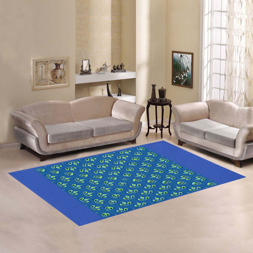 FRACTAL: Green Sparks of Life Abstract Area Rug7'x5'