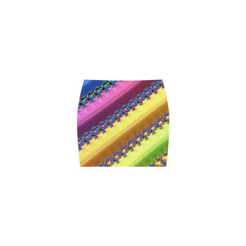 Blue Pink Yellow Green Fractal Art Nemesis Skirt (Model D02)
