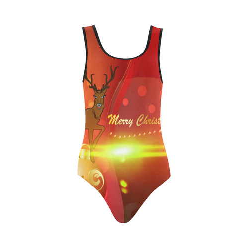 Christmas One Piece Swimsuit.Christmas Design With Reindeer Vest One Piece Swimsuit Model S04 Id D863823