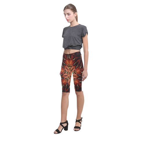 Flaming Feather Kaleidoscope Hestia Cropped Leggings (Model L03)