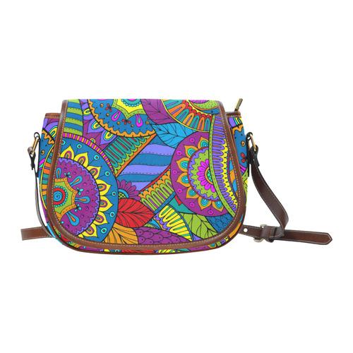 Pop Art PAISLEY Ornaments Pattern multicolored Saddle Bag/Small (Model 1649) Full Customization