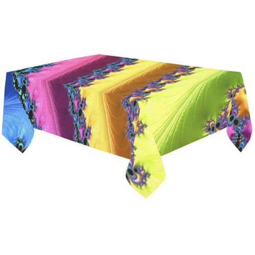 "Blue Pink Yellow Green Fractal Cotton Linen Tablecloth 60""x120"""