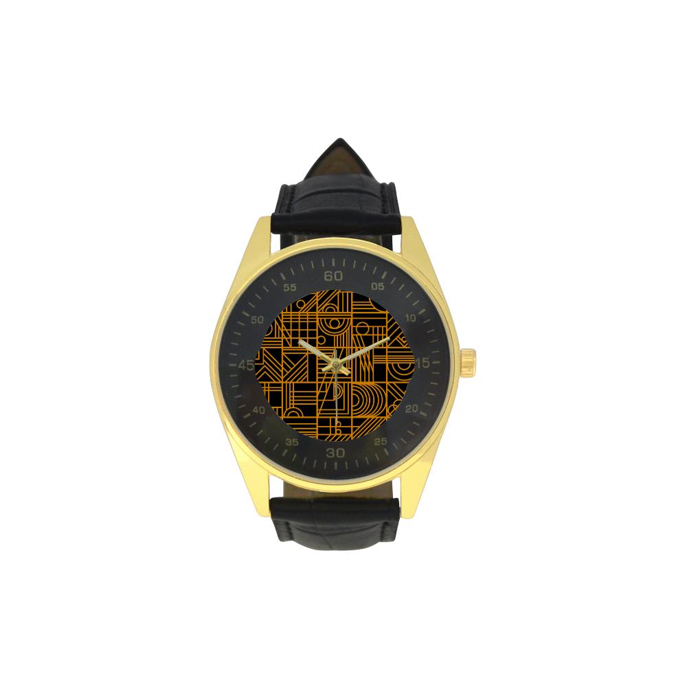 Art Nouveau Mens Golden Leather Strap Watchmodel 210 Id D864582
