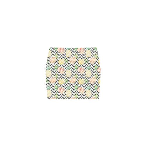 watercolor pineapple and chevron, pineapples Nemesis Skirt (Model D02)
