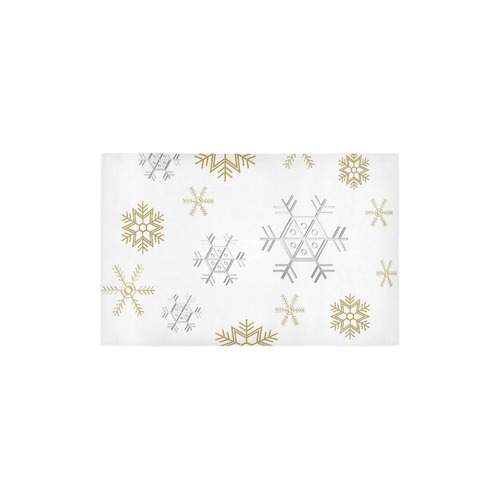 "Silver and Gold Snowflakes on a White Background Area Rug 2'7""x 1'8''"