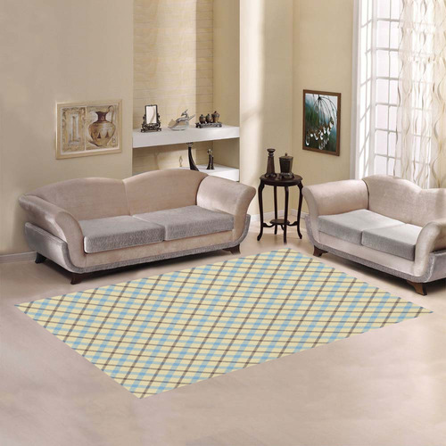 Plain Plaid / Tartan in Baby Blue, Brown and Cream Area Rug7'x5'