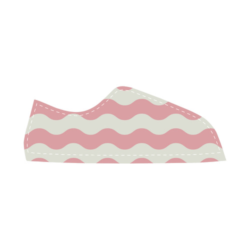 Original vintage designers Shoe edition : pink and white waves 70s inspired by guothova Women's Canvas Shoes (Model 016)