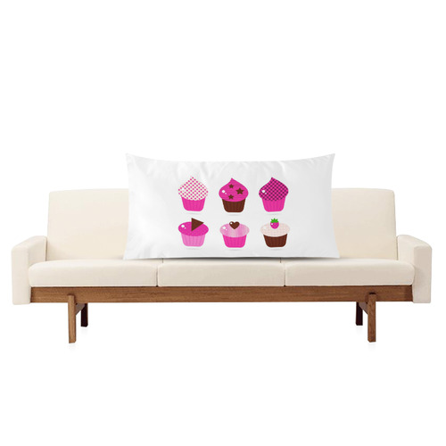 """Original designers cute Cakes edition : 70s inspired fashion art - pink and brown kitchen design Rectangle Pillow Case 20""""x36""""(Twin Sides)"""