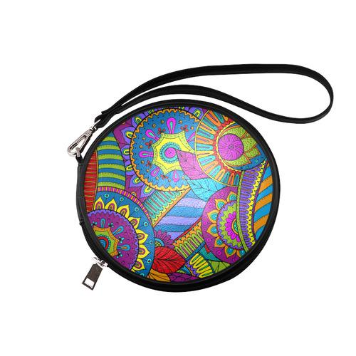 7347e14ba1ef Pop Art PAISLEY Ornaments Pattern multicolored Round Makeup Bag (Model  1625)   ID: D869377