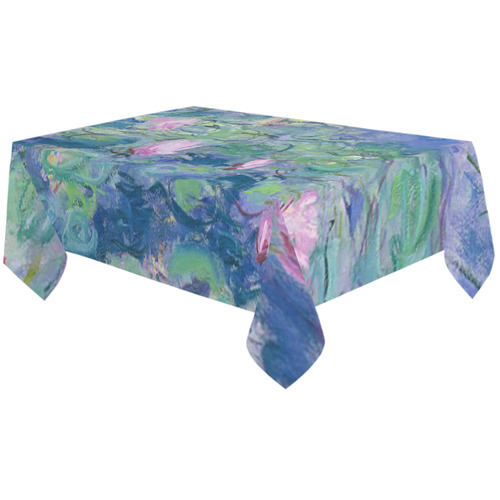 "Monet Pink Water Lily Pond Floral Fine Art Cotton Linen Tablecloth 60""x120"""
