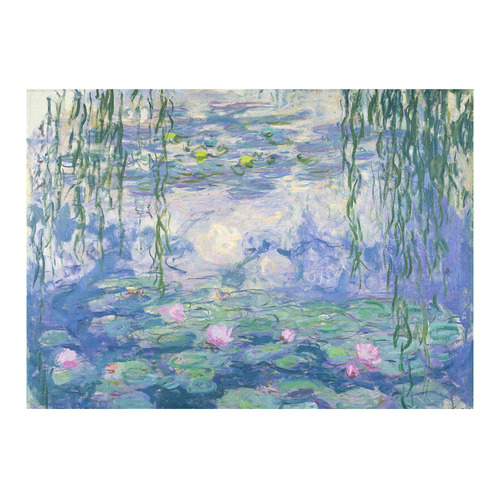"Monet Pink Water Lilies Floral Fine Art Cotton Linen Tablecloth 60""x 84"""