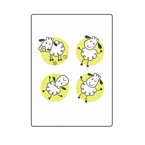 "Cute original Sheep designers Blanket : special edition for little Kids with sheep / white and green Blanket 58""x80"""