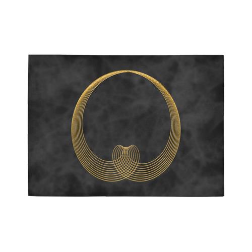 gold heart Area Rug7'x5'