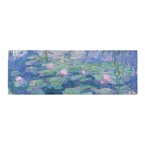 Monet Pink Water Lily Pond Floral Fine Art Area Rug 10'x3'3''