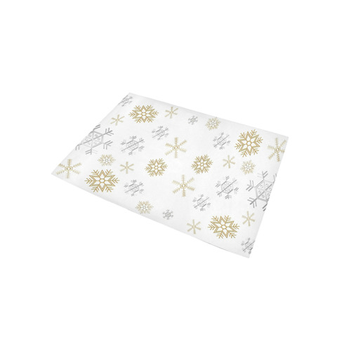 Silver and Gold Snowflakes on a White Background 2 Area Rug 5'x3'3''