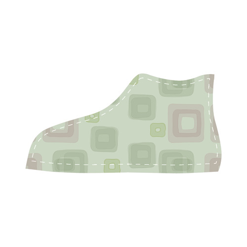 Green and Pink squares, back to 70's Velcro High Top Canvas Kid's Shoes (Model 015)